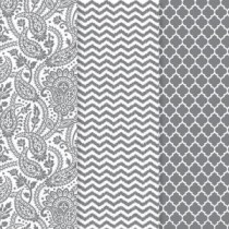 Americana 12 in. x 16 in. Decou-Page Paper Silver Trends (3-Pack) - DP101-B